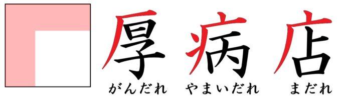 漢字の部首「たれ」